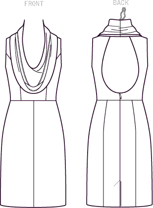 Vogue Pattern V1531 Misses Cowl Neck Open Back Dress 1531 Line Art From Patternsandplains.com