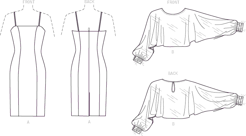Vogue Pattern V1532 Misses Slip Dress and Embellished Cuff Cover Up 1532 Line Art From Patternsandplains.com