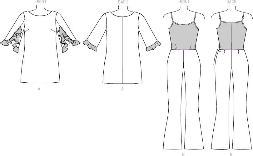 Vogue Pattern V1538 Misses Ruffle Sleeve Tunic and Bootcut Jumpsuit 1538 Line Art From Patternsandplains.com