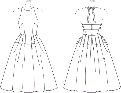 Vogue Pattern V1546 Misses Lined Pleated Halter Dress with Neck Tie 1546 Line Art From Patternsandplains.com