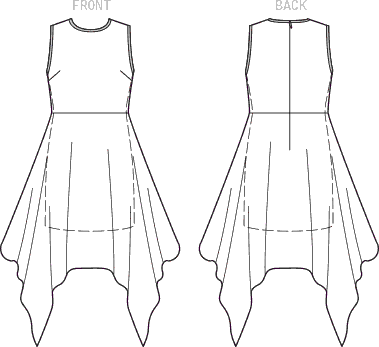 Vogue Pattern V1547 Misses Lined Dress with Handkerchief Style Overlay 1547 Line Art From Patternsandplains.com
