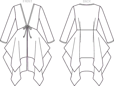 Vogue Pattern V1551 Misses Tie Front Cover Up with Peplum Style Tiers 1551 Line Art From Patternsandplains.com