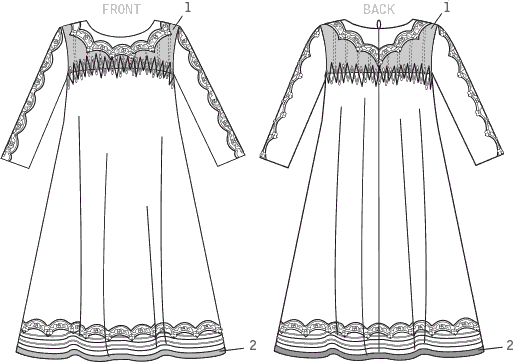 Vogue Pattern V1553 Misses Knit Swing Dress with Decorative Trims 1553 Line Art From Patternsandplains.com