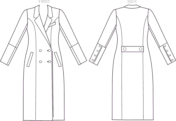 Vogue Pattern V1562 Misses Double Breasted Lined Coat with Back Belt 1562 Line Art From Patternsandplains.com