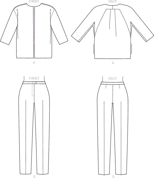 Vogue Pattern V1571 Misses Loose Unlined Jacket and Slim Pants 1571 Line Art From Patternsandplains.com