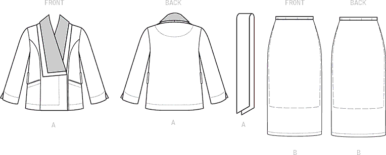 Vogue Pattern V1590 Misses Jacket Belt and Skirt 1590 Line Art From Patternsandplains.com