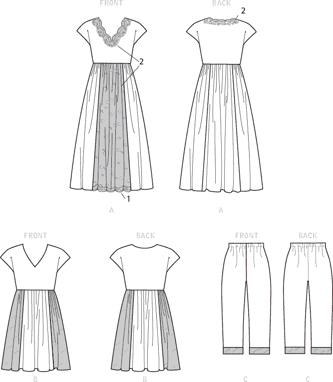 Vogue Pattern V1611 Misses Nightgown and Pants 1611 Line Art From Patternsandplains.com