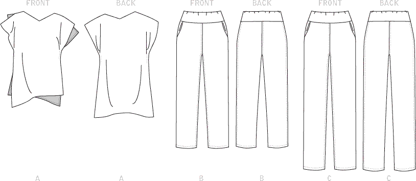 Vogue Pattern V1630 Misses Todays Fit Top and Trousers 1630 Line Art From Patternsandplains.com