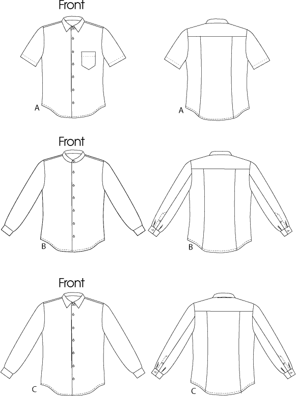 Vogue Pattern V8759 Mens Shirt 8759 Line Art From Patternsandplains.com