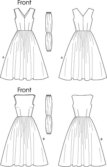 Vogue Pattern V8789 Misses Misses Petite Dress and Cummerbund 8789 Line Art From Patternsandplains.com