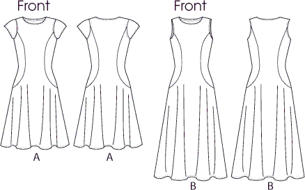 Vogue Pattern V8871 Misses Dress 8871 Line Art From Patternsandplains.com