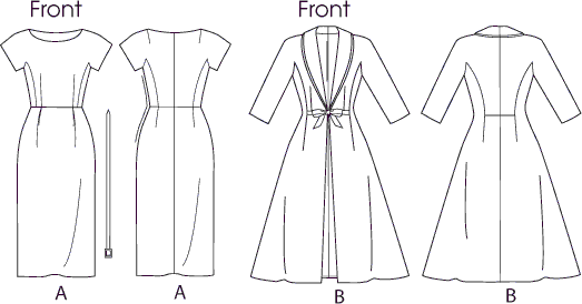 Vogue Pattern V8875 Misses Dress Belt Coat and Detachable Collar 8875 Line Art From Patternsandplains.com