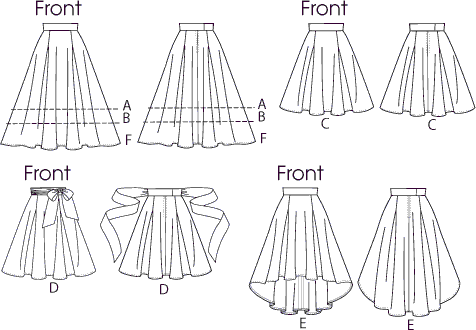 Vogue Pattern V8882 Misses Skirt 8882 Line Art From Patternsandplains.com