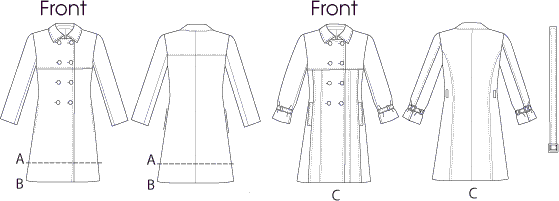 Vogue Pattern V8884 Misses Coat and Belt 8884 Line Art From Patternsandplains.com