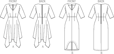 Vogue Pattern V8894 Misses Dress 8894 Line Art From Patternsandplains.com