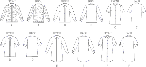 Vogue Pattern V8927 Misses Shirt 8927 Line Art From Patternsandplains.com