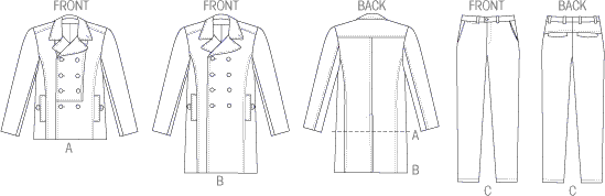 Vogue Pattern V8940 Mens Jacket and Pants 8940 Line Art From Patternsandplains.com