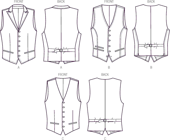 Vogue Pattern V8987 Mens Vest 8987 Line Art From Patternsandplains.com