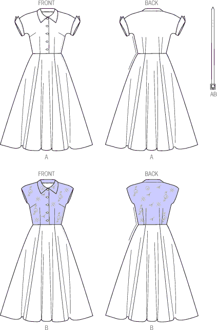 Vogue Pattern V9000 Misses Dress and Belt 9000 Line Art From Patternsandplains.com