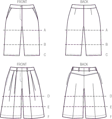 Vogue Pattern V9008 Misses Shorts 9008 Line Art From Patternsandplains.com