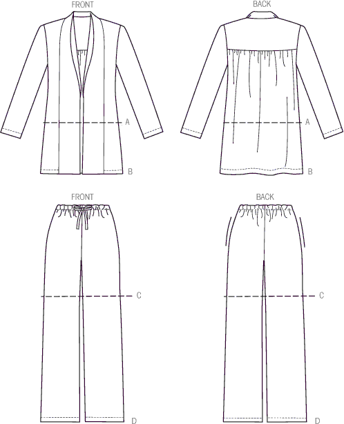 Vogue Pattern V9011 Misses Jacket Shorts and Pants 9011 Line Art From Patternsandplains.com