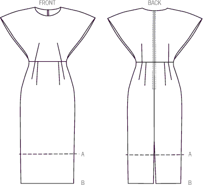Vogue Pattern V9021 Misses Dress 9021 Line Art From Patternsandplains.com