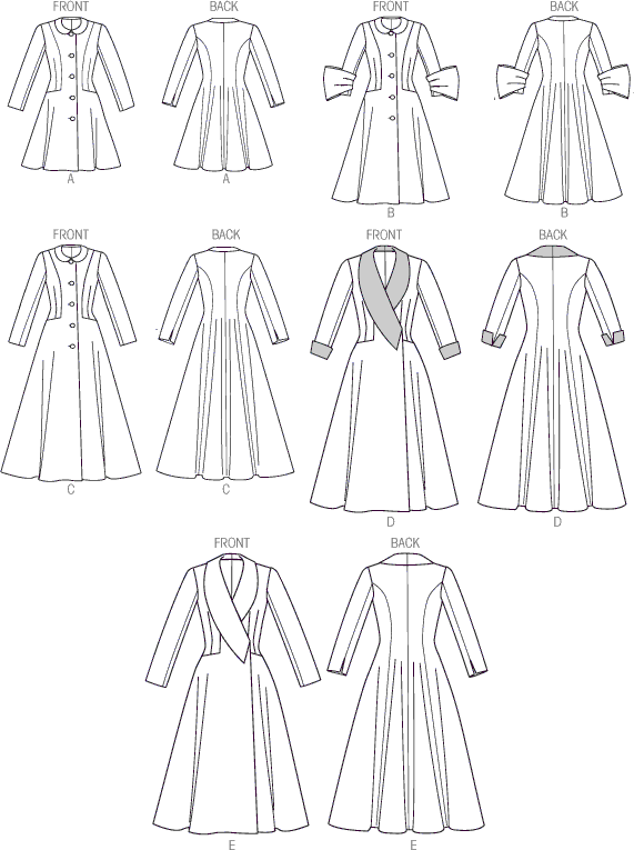Vogue Pattern V9040 Misses Coat 9040 Line Art From Patternsandplains.com