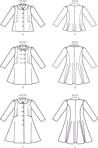 Vogue Pattern V9043 Childrens Girls Jacket and Coat 9043 Line Art From Patternsandplains.com