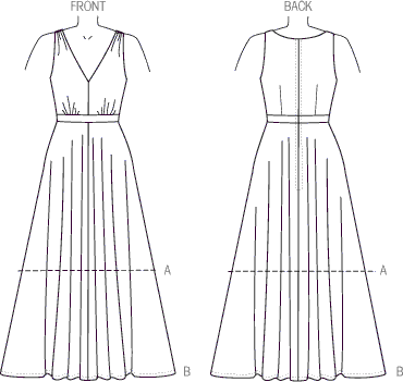 Vogue Pattern V9053 Misses Dress 9053 Line Art From Patternsandplains.com