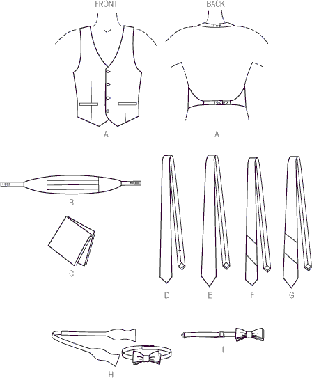 Vogue Pattern V9073 Mens Vest Cummerbund Pocket Square and Ties 9073 Line Art From Patternsandplains.com