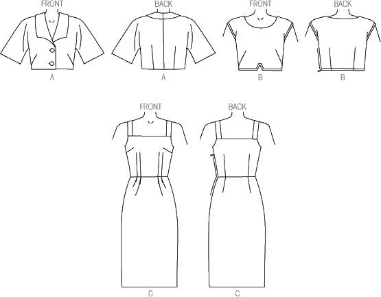 Vogue Pattern V9082 Misses Jacket Top and Dress 9082 Line Art From Patternsandplains.com