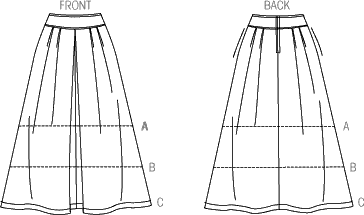 Vogue Pattern V9090 Misses Skirt 9090 Line Art From Patternsandplains.com