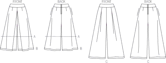 Vogue Pattern V9091 Misses Culottes and Pants 9091 Line Art From Patternsandplains.com