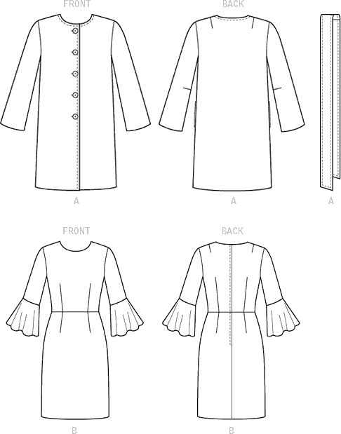 Vogue Pattern V9123 Misses Jacket Belt and Dress 9123 Line Art From Patternsandplains.com