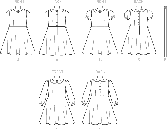 Vogue Pattern V9141 Childrens Girls Dress and Belt 9141 Line Art From Patternsandplains.com