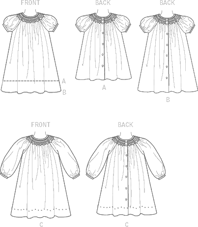 Vogue Pattern V9177 Childrens Girls Smocked Raglan Sleeve Dresses 9177 Line Art From Patternsandplains.com