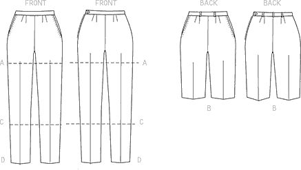 Vogue Pattern V9189 Misses Shorts and Tapered Pants 9189 Line Art From Patternsandplains.com
