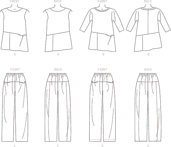 Vogue Pattern V9193 Misses Sleeveless or Dolman Sleeve Tunics and Pants with Yoke 9193 Line Art From Patternsandplains.com