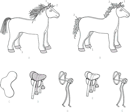 Vogue Pattern V9194 Plush Doll Horses with Saddle Bridle and Blanket 9194 Line Art From Patternsandplains.com