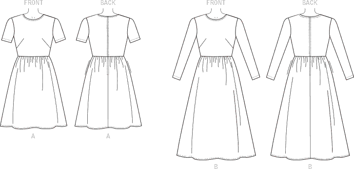 Vogue Pattern V9197 Misses Jewel Neck Gathered Skirt Dresses 9197 Line Art From Patternsandplains.com