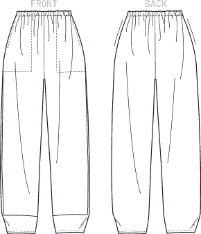Vogue Pattern V9228 Misses Pull On Pants with Front Pockets 9228 Line Art From Patternsandplains.com