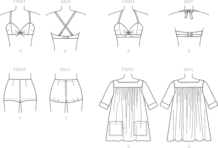 Vogue Pattern V9255 Misses Lined Halter Bra and Shorts and Square Neck Coverup with Pockets 9255 Line Art From Patternsandplains.com