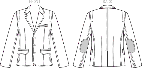 Vogue Pattern V9262 Mens Lined Jacket with Contrast Top Stitching and Elbow Patches 9262 Line Art From Patternsandplains.com