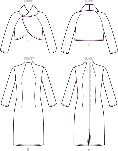 Vogue Pattern V9266 Misses Lined Raglan Sleeve Jacket and Funnel Neck Dress 9266 Line Art From Patternsandplains.com