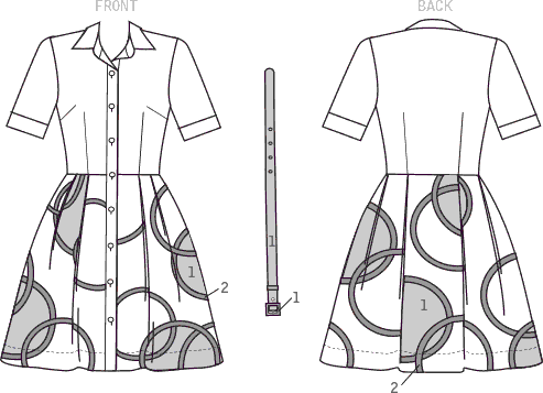 Vogue Pattern V9269 Misses Misses Petite Shirtdress with Appliqu and eacute;s 9269 Line Art From Patternsandplains.com