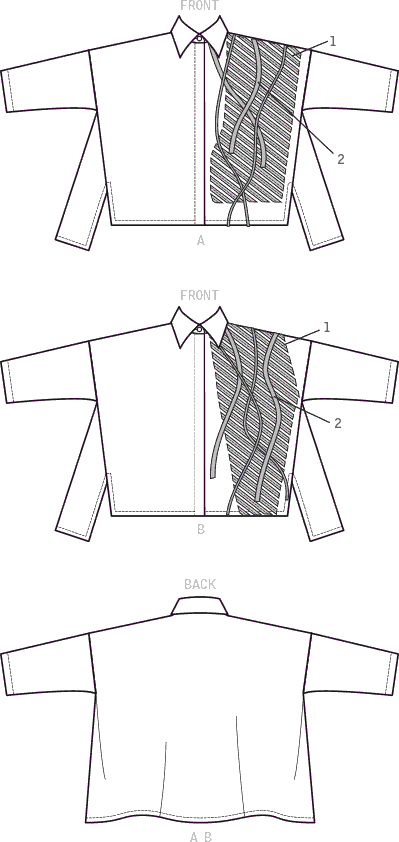 Vogue Pattern V9271 Misses Shirts with Contrast Appliqu and eacute; Trims 9271 Line Art From Patternsandplains.com