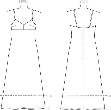 Vogue Pattern V9278 Misses Slip Style Dress with Back Zipper 9278 Line Art From Patternsandplains.com