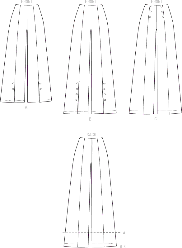 Vogue Pattern V9282 Misses High Waisted Pants with Button Detail 9282 Line Art From Patternsandplains.com