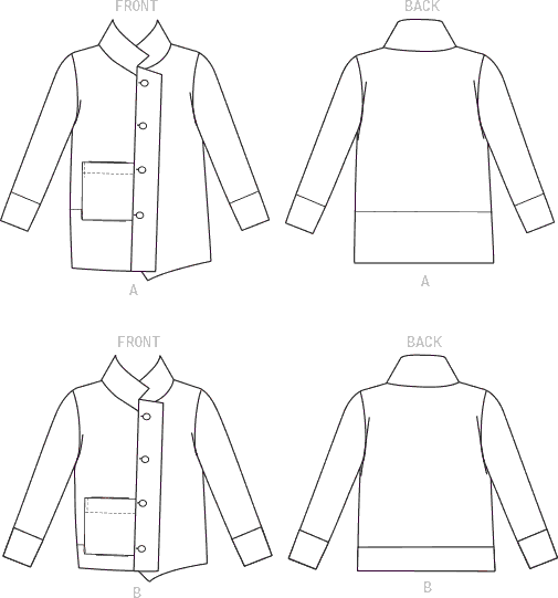Vogue Pattern V9287 Misses Jacket with Stand Collar and Extended Placket 9287 Line Art From Patternsandplains.com