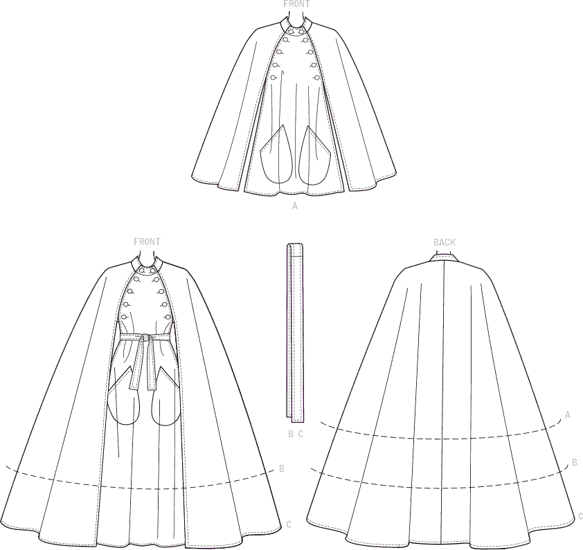 Vogue Pattern V9288 Misses Cape with Stand Collar Pockets and Belt 9288 Line Art From Patternsandplains.com